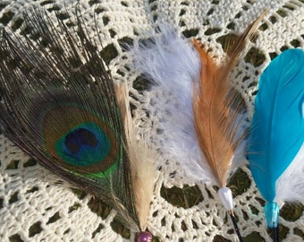 Feathered whimsical hair pins