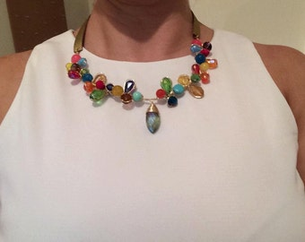 Colorful crystals necklace