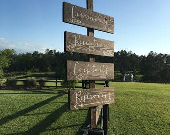 Custom Wedding Directions, rustic wedding arrows, wood ceremony arrows, wood reception arrows
