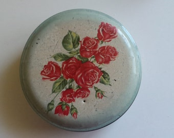 Blue Roses on lid Vintage  Tin Container 10cm Across Engish