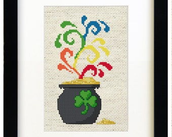 Pot of Rainbows - Cross Stitch Pattern