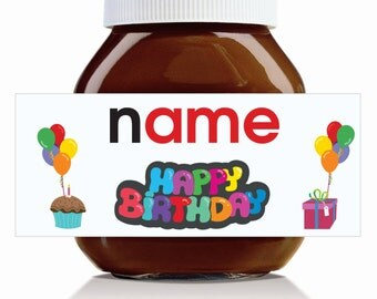 Personalised 'Happy Birthday' Label for 750g Nutella Jar!