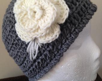 Gray Crochet Beanie Hat with White Flower