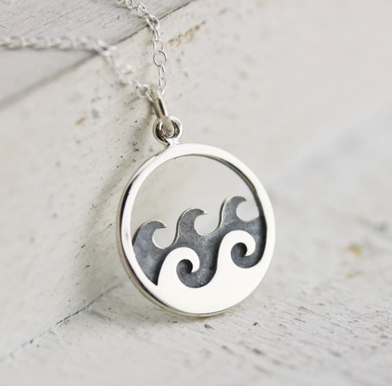 Waves Necklace Sterling Silver Ocean Waves Necklace Wave