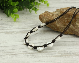 White pearl necklace, real pearl necklace, freshwater pearl necklace, pearl necklace leather, knot necklace, pearl jewelry, chokers, X 583