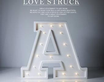 Wooden Letter Lights LED Letter lights Mini letter lights MDF letter lights Letter A lights