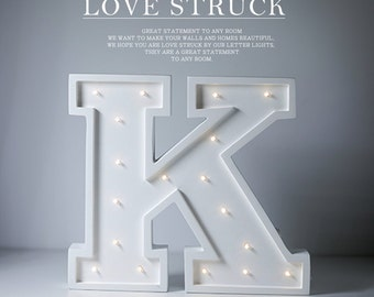 Letter K Lights Marquee Letter Light, Light Up Sign great for nurseries or kids rooms, wooden letter lamp In stock