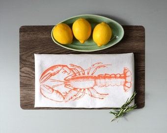Gift for her under 20 Euro, present for the house-warming party, tea towel, hand printed with screen print, half linen, lobster