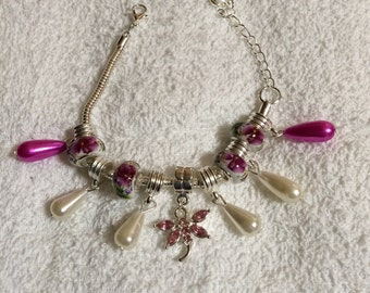Pink and White Flowered Dragonfly Silver Bracelet