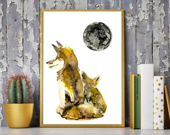 Foxes Painting with a full moon,fox painting,fox Watercolor Painting,fox Art  Print,fox artwork,fox Modern wall art,fox home Décor