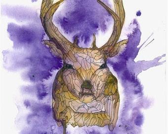 deer Watercolor Painting,Beautiful deer,purple deer art,Modern deer,deer wall art,deer home Déco,deer painting ,deer Art,Print deer