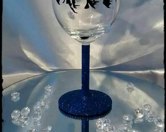 The Beatles hand painted  glitter wine glass