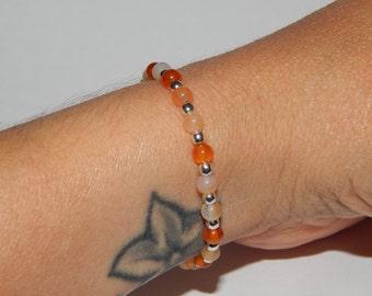 Bracelet silver and cornelian