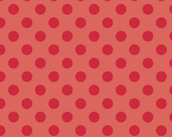 "Riley Blake designs -  ""Medium Dots""  Tone on Tone Cotton Fabric in Red"