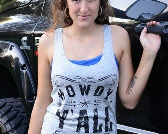 HOWDY Y'ALL Tank - Grey Distressed Tank Top