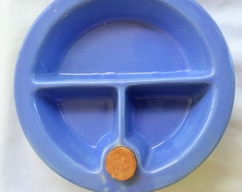Vintage Divided Water Heated Baby's Feeding Dish ~ 1930's - 1940's ~ Periwinkle Ceramic ~ Hankscraft USA 962