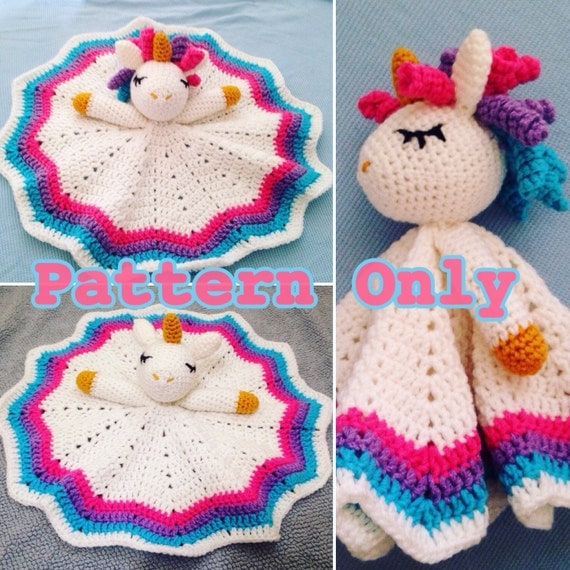 Rainbow Unicorn Knitting Pattern : Crochet rainbow unicorn lovey security blanketpattern only