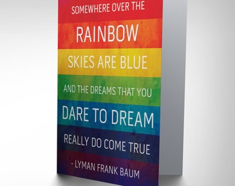 Quote Card - Over the Rainbow Card Wizard Oz Colourful Greetings Birthday Card CP059