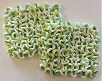 Pair of Green Trivets, Hot Pot Holders, Wiggley Crochet
