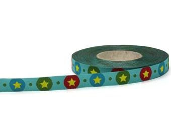 1/2 inch red and blue stars jacquard ribbon- Farbenmix - 12mm - STARdotzz