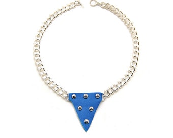 Necklace Metal and klein blue leather - metal and leather necklace blue klein