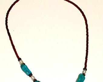 Turquoise, pearl and brown necklace