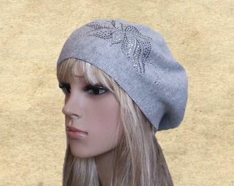 Womens knit beret, Gray beret women, Knitted beret lady, Trendy womens beret, Women's beret hats, Lightweight beret, French beret knit