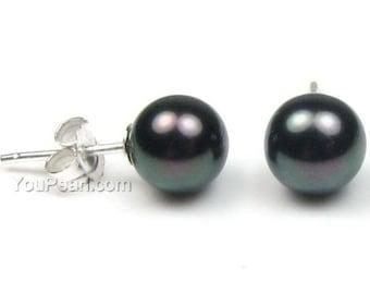 7-8mm round black pearl earrings studs, AA + 925 sterling silver freshwater pearl earrings, classic stud earrings jewelry, FLR7080-BE