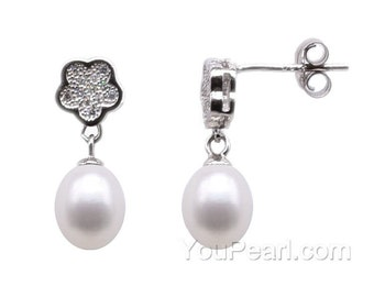 7-8mm white pearl drop earrings, sterling 925 silver freshwater pearl earrings, natural pearl dangle earrings for women, F2975-WE