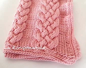 Handmade baby crib blanket cover cotton dmc pink buggy girl worked nature xl