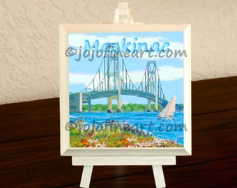 Mackinac Bridge original art painting 4x4 by jojofineart.com