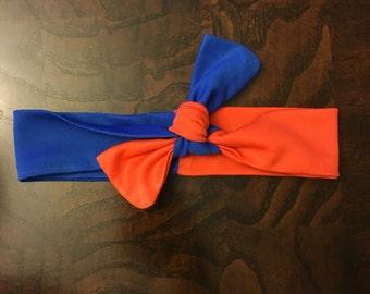 Orange and Blue Headband, Baby Headband, Headwrap, Bow, Gator Headwrap, Florida Gators