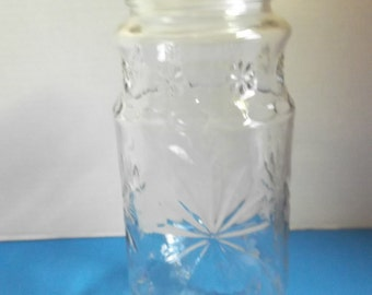 Vintage Planters Peanuts Glass Jar With Lid, Anchor Hocking, 1980