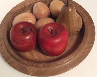 Turned timber bowl of fruit and eggs, handmade from recycled Australian hardwood