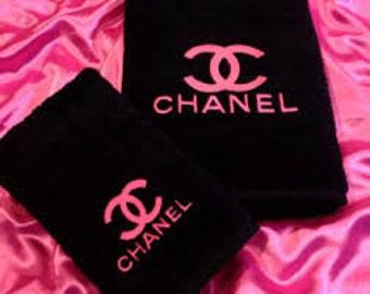 chanel inspired 2 piece towel set bath towel & hand towel