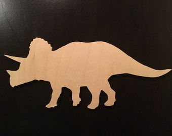 Hand Cut Wooden Cutout - Wooden Silhouette - Animal - Dinosaur - Triceratops