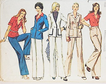 70s Pant Suit Pattern | Simplicity 6285 Misses Cardigan & Pants | 70s Sewing Pattern