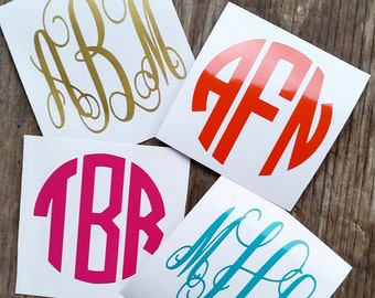 Monogram Decal - Monogram - Vine Monogram - Circle Monogram