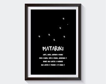 MATARIKI WAIATA - Printable Maori Wall Art