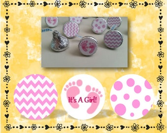 216 It's A Girl Hershey Kiss Labels - Baby Shower Favors - Chevron - Polka Dots - Pink - Favor Labels