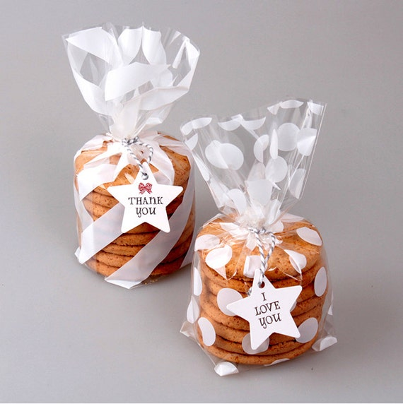 40 white stripes polka dot plastic bags cookie bag wedding for Cookie bags for wedding