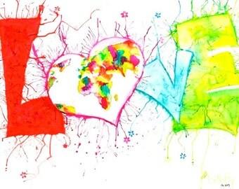 "Love / Liebe -Original Painting by Buttafly- 60 x 80 cm (23,6"" x 31,5"") welt, world, typography, heart, herz, colorful, bunt, flowers blumen"