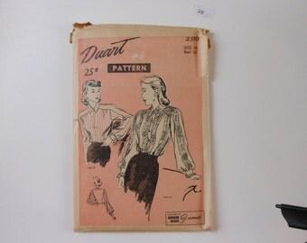 Duart UNCUT Vintage 1930's blouse pattern 2310