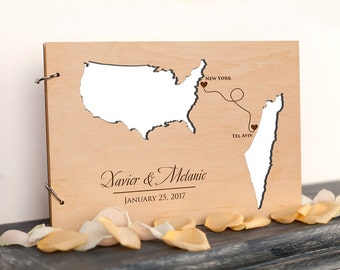 Personalized Wedding Guest Book, Rustic Custom guest book, Countries and States Guest Book, Unique Engraved guestbook, Wedding Destination