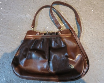 Vintage Chocolate Leather Elbow Bag
