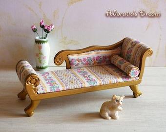 Dollhouse sofa 1:12 scale, French style miniature sofa 12th, dollhouse furniture Chaise Longue, ooak piece