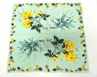Vintage 1940s Handkerchief...Baby Blue Handkerchief w/ Yellow Flowers...Yellow Floral Hankie w/ Green Leaf Detail...Cotton Accessory