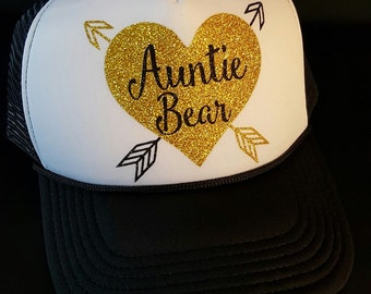Auntie Bear with Arrows Glitter Trucker Hat