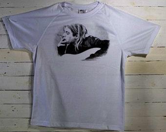 Kurt Cobain Nirvana Sketch Art T Tee Tees Shirt White Fan Gift