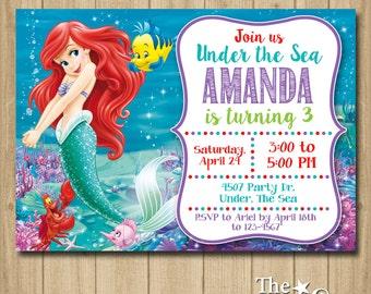 Ariel Birthday Invitation, Mermaid Invitation, Birthday Invitation, Mermaid Party Invitation, Little Mermaid Invitation
